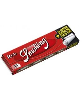 33 Smoking Red King Size Slim Blättchen + 33 breite Filtertips.