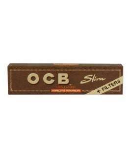 OCB unbleched King Size Slim Blättchen + Filtertips aus ungebelichtem Papier