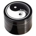 """""""Black Leaf"""" Metallgrinder mit Sieb, Ying Yang Motiv, Farbe: schwarz & Ø:50mm"""