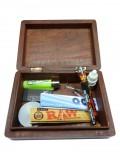 Große Amsterdam Holzbox + Musterprodukte (Grinder, Sieb, Blunt, Feuer, Tips,...)