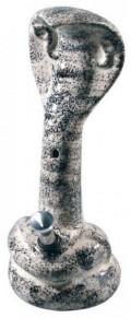 """""""Keramikbong"""" mit Alu-Chillum, Kickloch und als Schlange (Cobra). Höhe:23cm"""