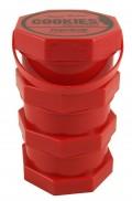 Cookies Box - L in rot & Geruchsdicht. Durchmesser: 91mm. Höhe: 14,5cm